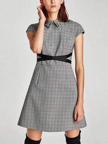 Gray Gingham Beaded Detail Cross Tie Waist Mini Dress