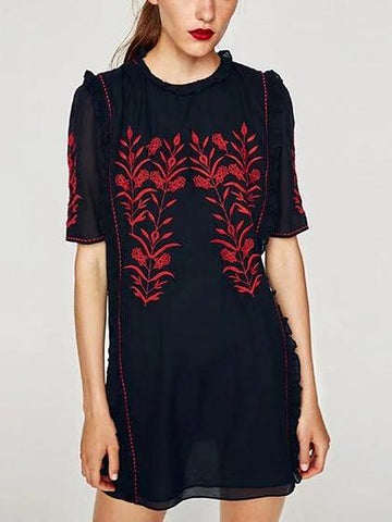 Black Ruffle Trim Embroidery Detail Mini Dress