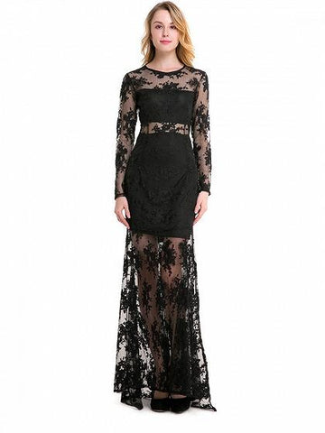 DaysCloth Black Embroidery Long Sleeve Sheer Mesh Maxi Lace Dress