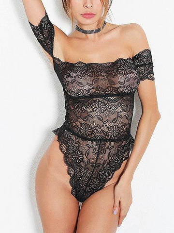 DaysCloth Black Off Shoulder Cut Out Back Lace Bodysuit
