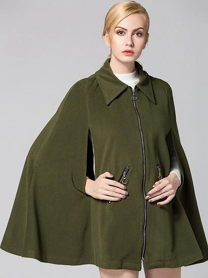DaysCloth Army Green Zip Front Poncho Coat