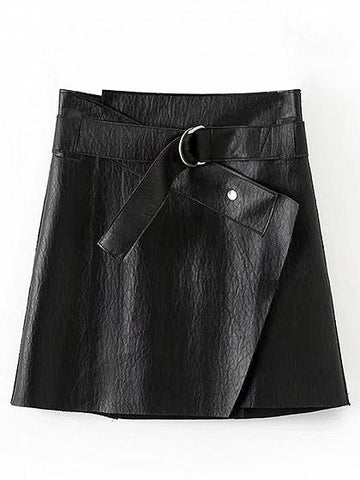 Black D-ring Belt Detail Leather Look Mini Skirt