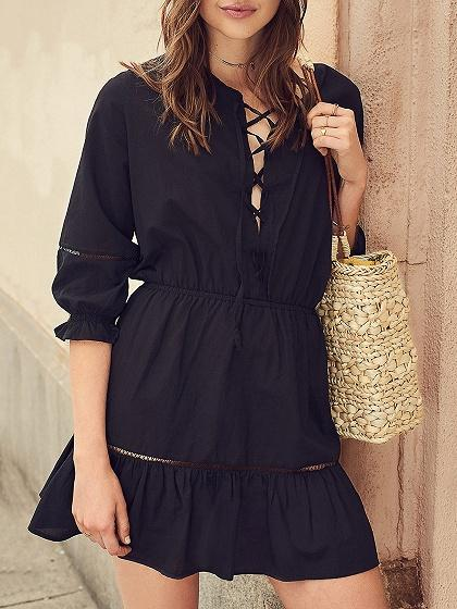 Black Lace Up Front  Ruffle Trim Mini Dress