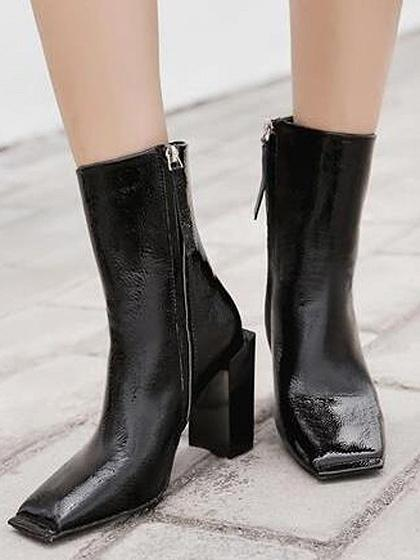 Black Square Toe Leather Look Heeled Boots