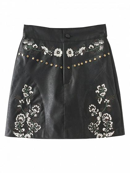 DaysCloth Black High Waist Embroidery Floral Leather Look Mini Skirt