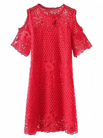 Red Cold Shoulder Cut Out Detail Lace Dress