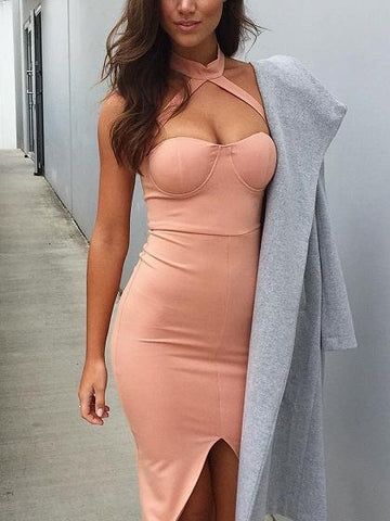 Pink Halter Sweetheart Split Detail Bodycon Dress