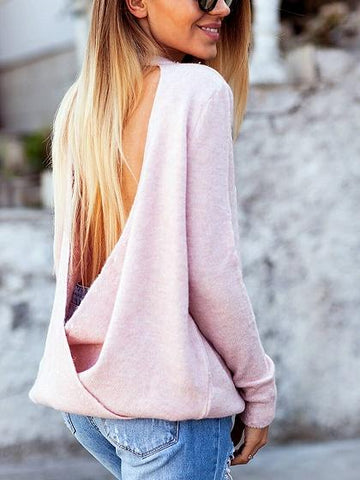 Pink Plunge Long Sleeve Knit Sweater