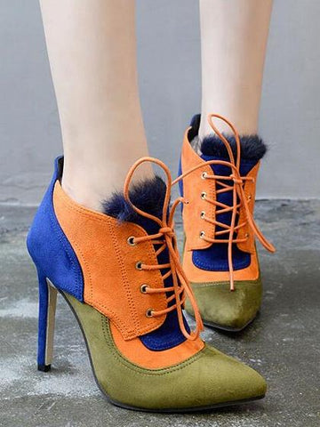 Color Block Lace Up Detail Pointed Ankle Boots
