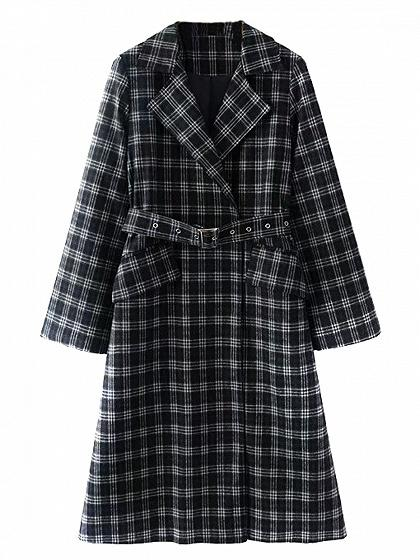 DaysCloth Black Lapel Gingham Buckle Belt Detail Longline Trench Coat