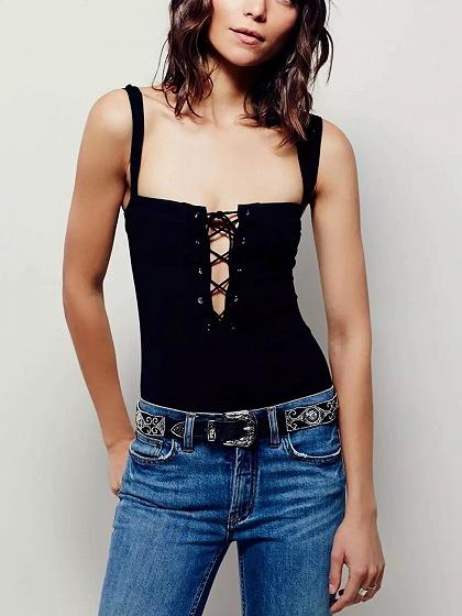 Black Lace Up Front Bodysuit