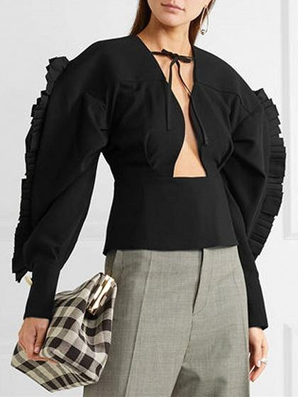 Black V-neck Tie Front Cut Out Ruched Detail Ruffle Trim Blouse