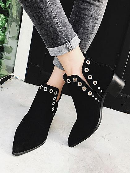 Black Faux Suede Eyelet Detail Pointed Ankle Boots