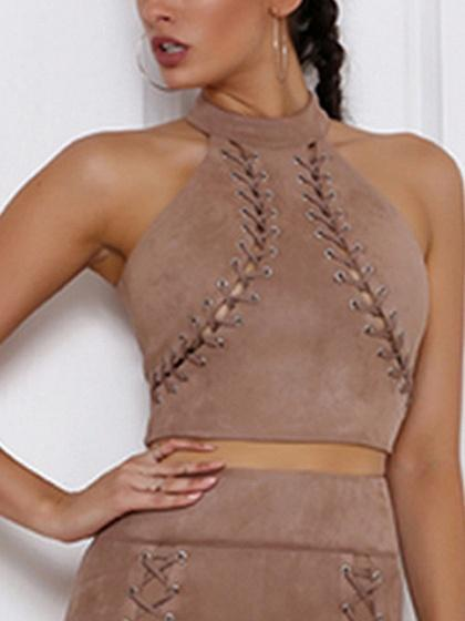 DaysCloth Beige Choker Neck Lace Up Front Crop Top