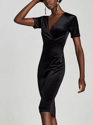 DaysCloth Black Velvet V-neck Short Sleeve Bodycon Dress