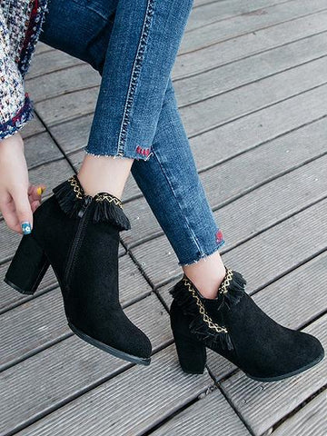 Black Faux Suede Tassel Detail Heeled Ankle Boots