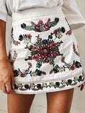White High Waist Embroidery Floral A-line Mini Skirt