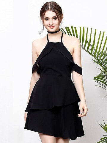 Black Halter Tie Neck Ruffle Trim Open Back Layered Mini Dress