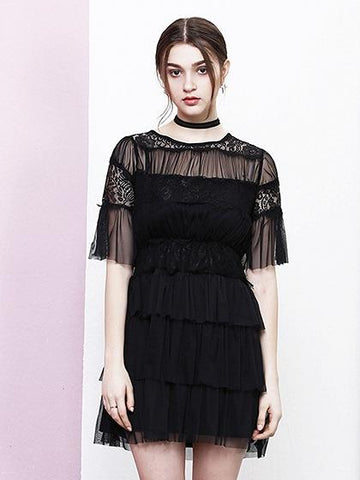 Black Ruffle Trim Layered Lace Panel Mesh Mini Dress