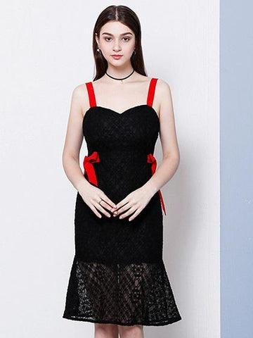 Black Contrast Bow Tie Side Lace Panel Shoulder Strap Dress