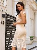 Beige V-neck Pephem Bodycon Midi Lace Dress