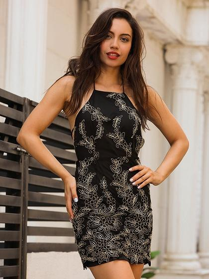 Black Halter Embroidery Backless Bodycon Mini Dress