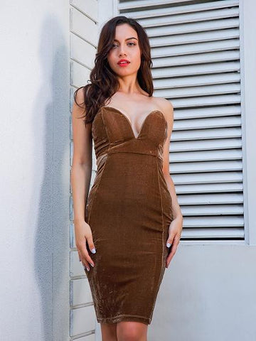 DaysCloth Brown Bandeau V-neck Velvet Bodycon Mini Dress