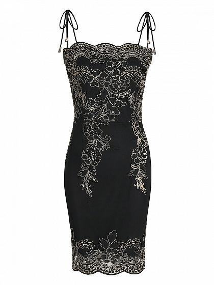 DaysCloth Black Embroidery Spaghetti Strap Bodycon Mini Dress