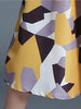 DaysCloth Yellow Geo Pattern V-neck Midi Dress