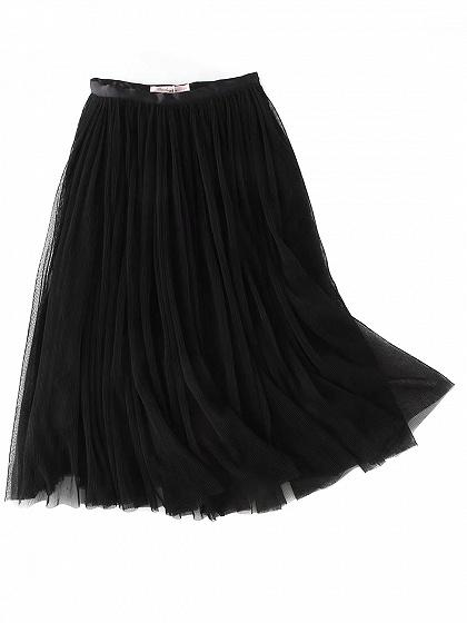 Black High Waist Overlay Mesh Pleated Skirt