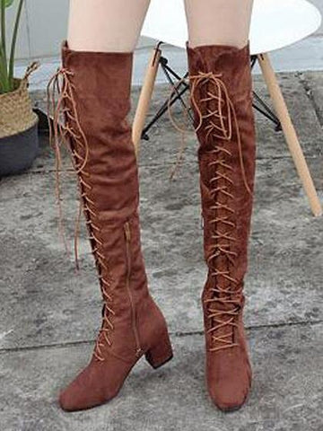 Brown Faux Suede Lace Up Over The Knee Boots