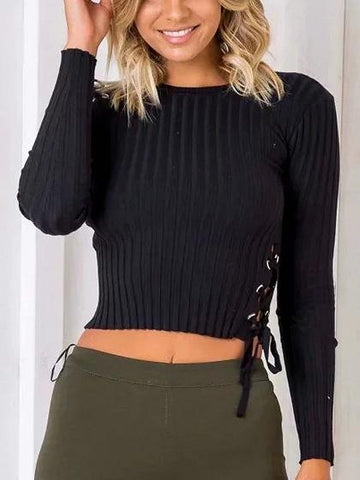Black Lace Up Detail Long Sleeve Rib Knit Sweater