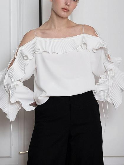 White Lace Up Sleeve Ruffle Detail Blouse