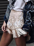 White High Waist Tassel Hem Lace Mini Skirt