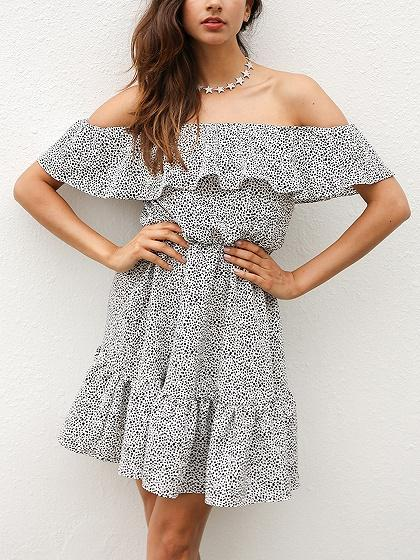 White Off Shoulder Polka Dot Ruffle Trim Mini Dress