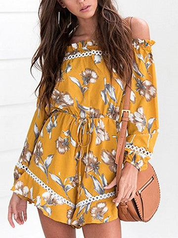 DaysCloth Yellow Off Shoulder Print Detail Tie Waist Long Sleeve Bodysuit