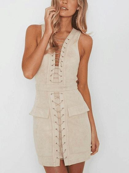 Beige Faux Suede Lace Up Front Mini Dress