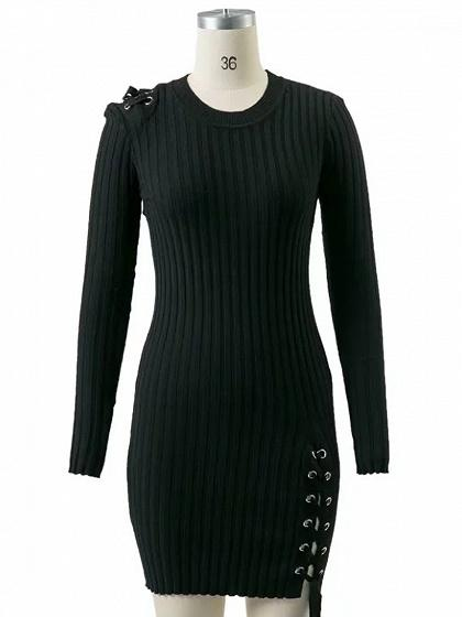 DaysCloth Black Lace Up Detail Long Sleeve Knit Bodycon Mini Dress