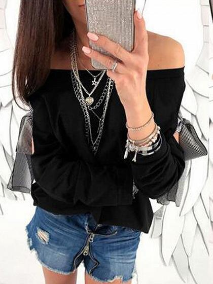 DaysCloth Black Off Shoulder Bow Tie Detail Long Sleeve Blouse