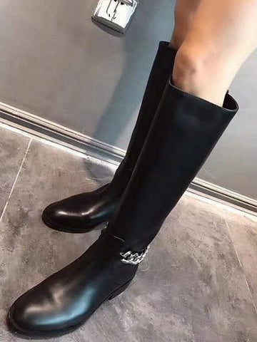 DaysCloth Black Leather Chain Detail Knee Boots