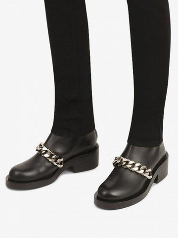 DaysCloth Black Leather Chain Detail Ankle Boots