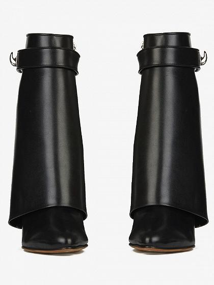 DaysCloth Black Leather Wedge Boots