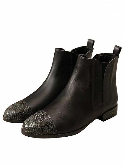 Black Leather Snakeskin Panel Ankle Boots