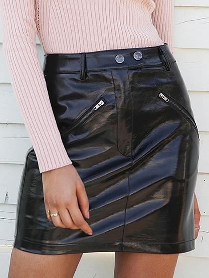 DaysCloth Black High Waist Zip Front Leather Look Mini Skirt