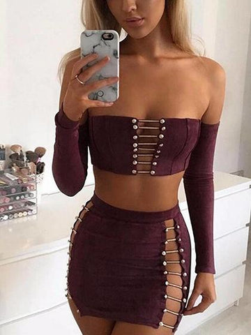 Burgundy Faux Suede Off Shoulder Strap Detail Top And Mini Skirt