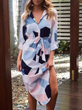 Color Block Geometric Print Long Sleeve Strappy Split Side Midi Dress