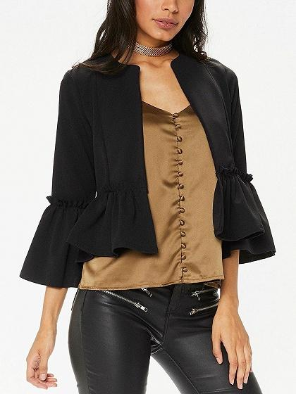 DaysCloth Black Open Front Ruched Trim Flare Sleeve Coat