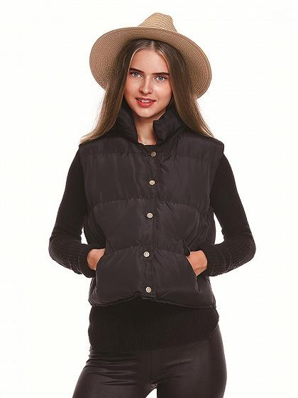 DaysCloth Black Button Front Padded Waistcoat