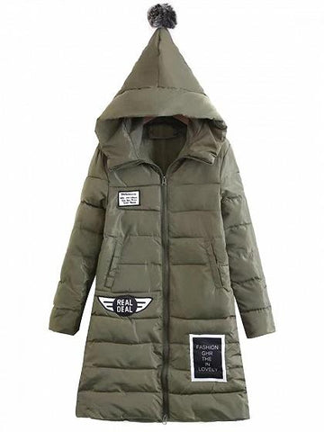 Army Green Patch Detail Long Sleeve Padded Hooded Coat