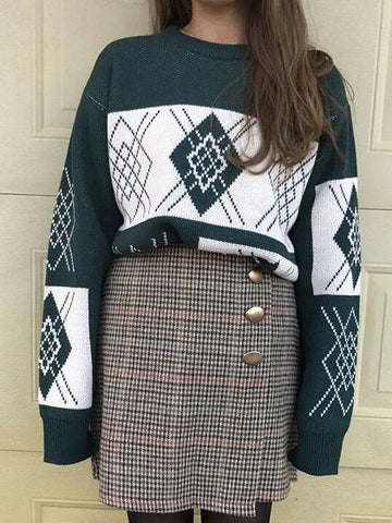 Dark Green Contrast Geo Pattern Knit Sweater